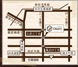 Cafe Bar Diaryの地図画像です